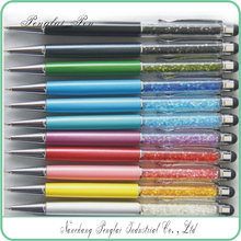 2015 bling metal assorted color crystal filled pen ball pen with touch stylus tip