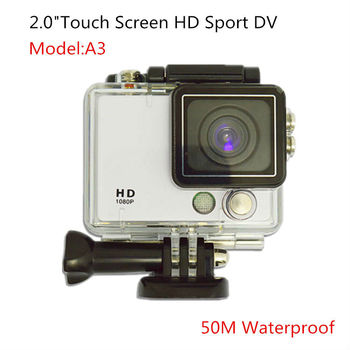 "2.0"" Touch Screen Cheap HD1080P Sport Camera 50M Waterproof 120Degree Wide Angel Lens 8X digital Zoom 5Color Available"