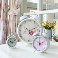 Most popular flower pattern double bell home decoration metal alarm clock