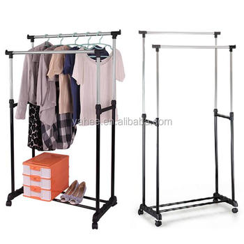 Double Adjustable Clothes Hanging Rail & Shoe Cloth Stand Rack Organizer