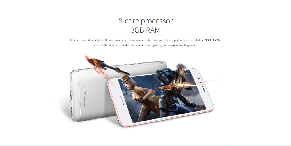2017 New arrival 5.2'' MT6753 4G LTE Meizu M5S 16G Mobile Phone