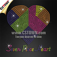 Colorful heart with words iron-on rhinestud transfer picture to t shirt
