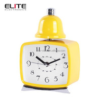 Quartz real bell metal table clock with light