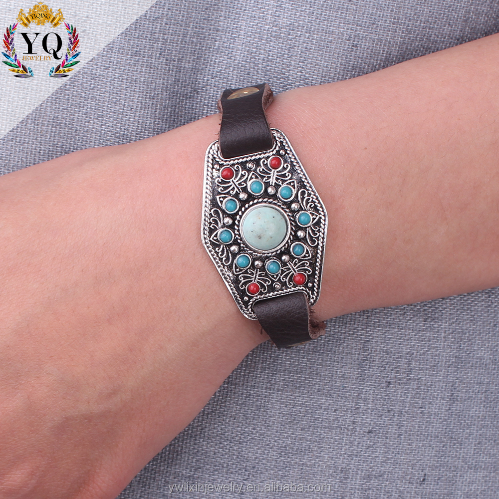 BLX-00295 antique silver deisgn customized genuine leather bracelet with turquoise stone
