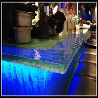 led bar glass top