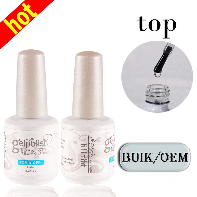 Wholesale Nails Supplies Organic Clear UV Top Coat Gel Transparent No Wipe Top Coat For Nails