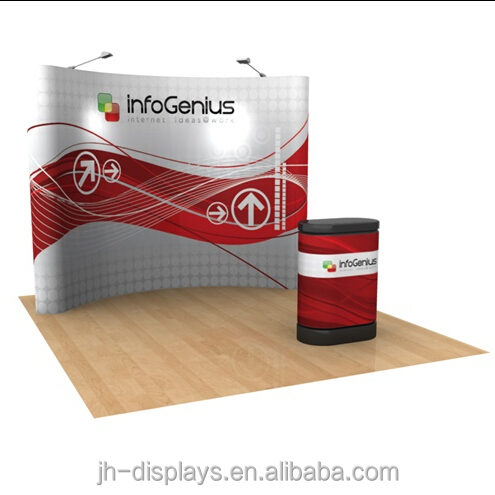 8ft 10ft tension Fabric straight curved pop up stand display for trade <strong>show</strong>