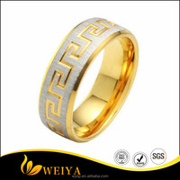 Titanium Stainless Steel Gold Plated Great Wall Engagement Wedding Ring Jewelry