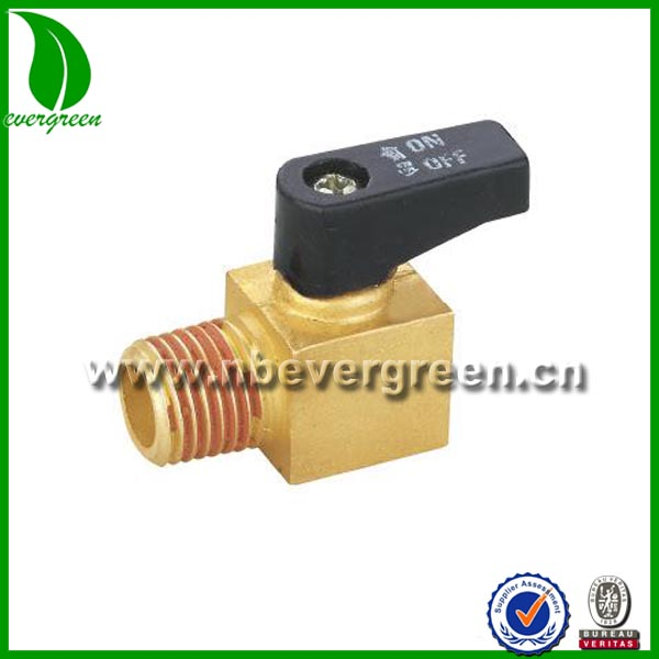 Male to female brass lockable mini ball stop cock valve