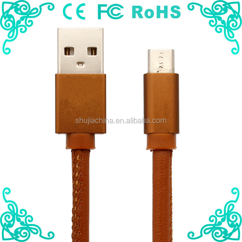 New arrival fashion 3ft PU jacket micro leather usb cable for android phone