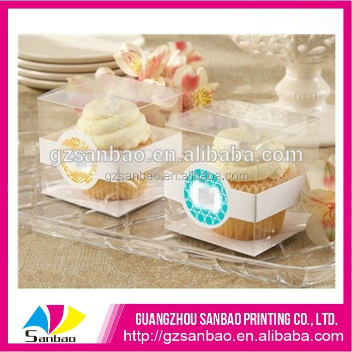 Eco-friendly clear plastic cake box PET box for cupcake packing