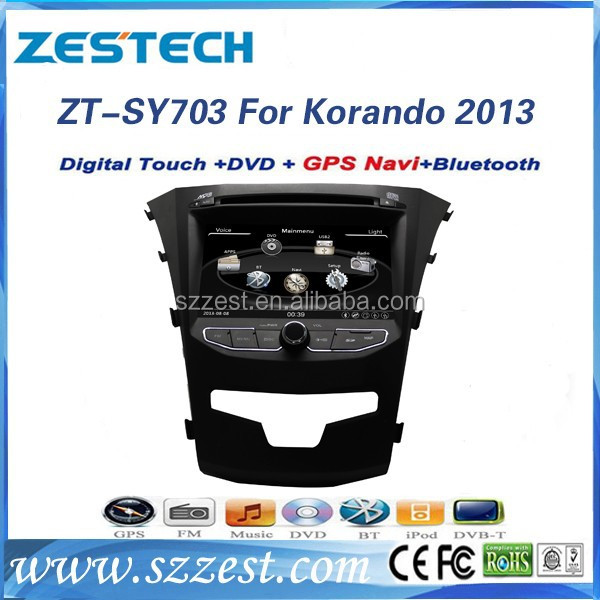 ZESTECH 2014 New car dvd for ssangyong korando with gps dvd radio bluetooth tv support connect phone