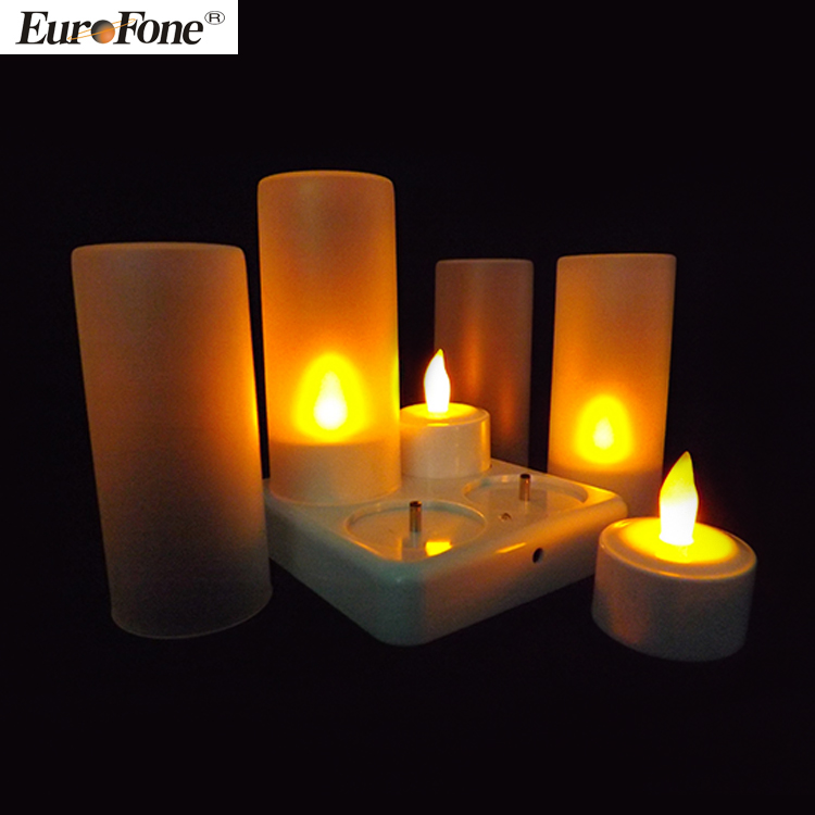 LED Flickering Candles rechargeable,Set of 4