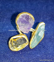 Amethyst Citrine & Aquamarine Rough Gemstones Solid Silver Ring, 925 Sterling Silver Indian Jewelry