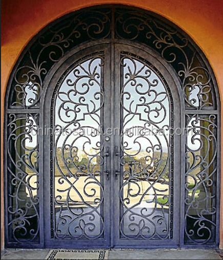 Round wrought iron double doors for villa wrought iron for Villa entrance door designs