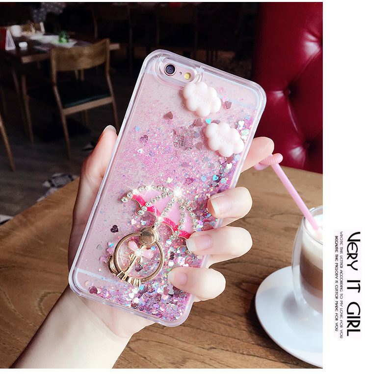 2017 most popular design with TPU and quicksand 3d cartoon phone case mobile phone case for iphone 7 7plus oppo r9s r11 plus