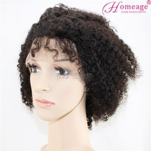 Homeage popular brazilian human hair top closure lace wigs lace front wigs with bangs