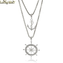 Silver tone long chain 2 layers pendant jewellery necklace for women