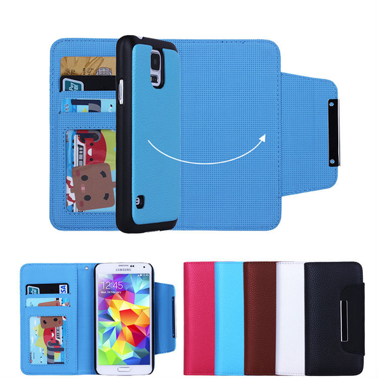 Detachable magnetic wallet case for Samsung galaxy S5