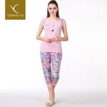 Manufacturer best price custom design viscose night suit for ladies pajamas
