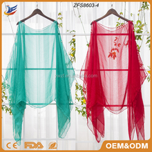 Poncho Style Silk Beach Shawl Girls Plain Chiffon Scarf Beach Wear Scarf and Shawl