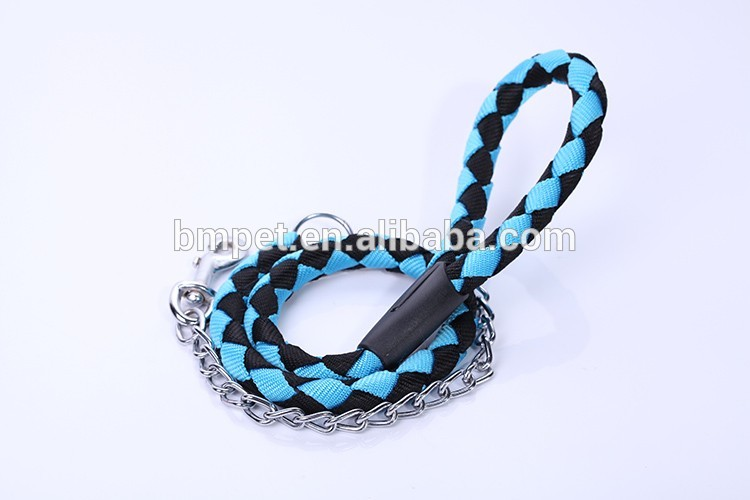 Pet Production Braided Pet Dog Leash with Metal Chain