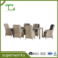 professional garden sofa rattan furiture with aluminium slat top square table set
