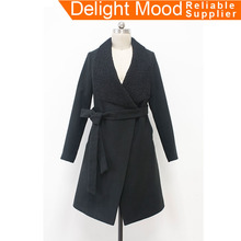 Hot sale women autumn clothes new style wool fur design ladies wool coat