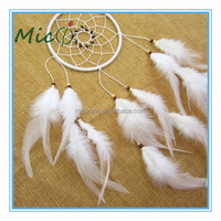 2015 Wholesale Handmade 1 Circle White Feather Indian Dream Catcher Supplies