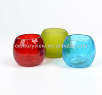 votive colored round crackle glass cross candle holder
