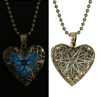 Fashion Jewelry luminous Howllow Heart Locket Pendant Glow In The Dark, Vintage Antique gold Illuminant Pendant