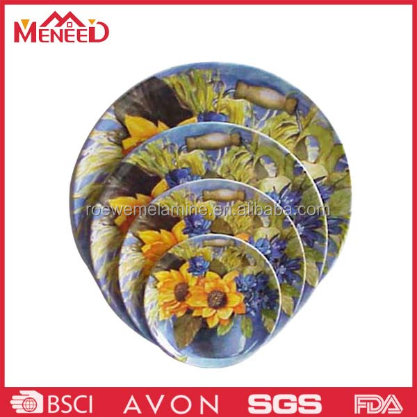 Full printing round custom melamine serving plate for promotion