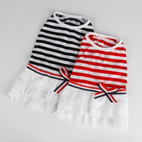 Stripe Pattern Dog Dresses Dog Shirts Fashion Dog Clothes