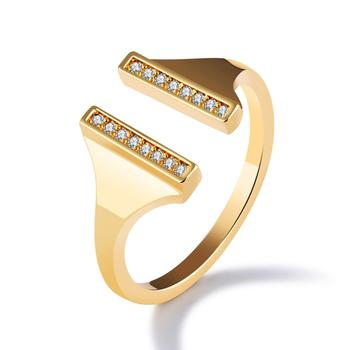 Exquisite cute diamond sisters girlfriends jewelry copper plated 18K gold ladies ring