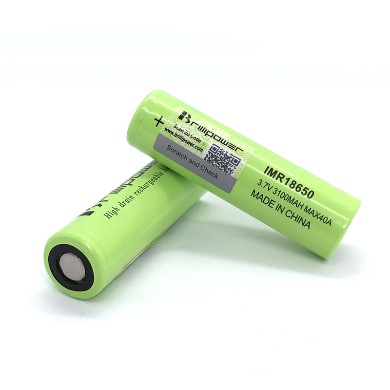Hot sell Brillipower high drain green lithium rechargeable li ion 3100mah 40a 18650 3.7v vape battery cell