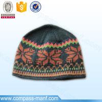 2016 Xmas polar fleece lining crochet snowflake pattern beanie hat