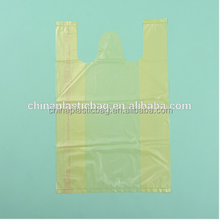 light yellow 25 microns t-shirt plastic packaging bag for shopping super market