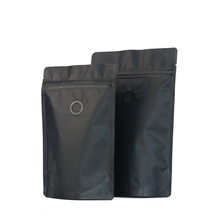 Wholesale Packaging Round Bottom Coffee Bags Pouch With Zipper and Valve Black