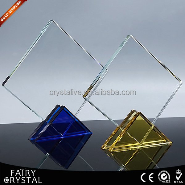 Crystal Glass Blanks For Award Plaques with Blue and Yellow Stand