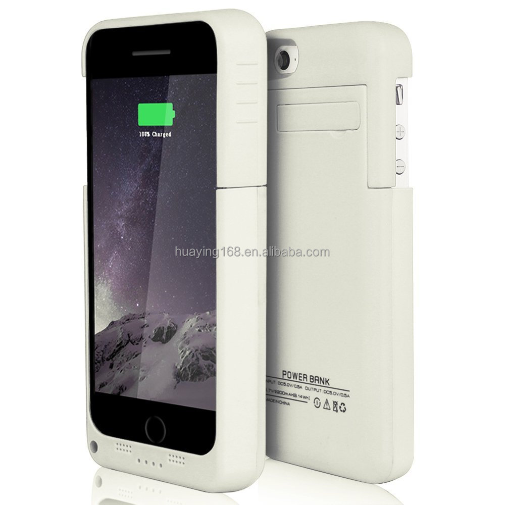 2200mAh Extended Charger Case, Slim External Protective Rechargeable Back Up Power Bank with Kick Stand for iPhone 5 / 5S
