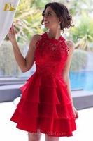 Designer A-line Sleeveless Appliques Red Summer Young Girls 15 Years Old Girl Party Dress