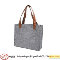 China wholesale custom felt shopping bag with PU leather handle made in China
