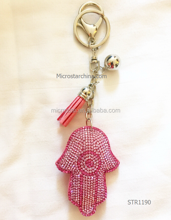 JINHUA zinc alloy metal type metal material crystal Fatima Hand keychain For Sale