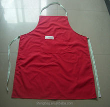 Solid red colored Poly/cotton twill fabric bibs type apron with gel print