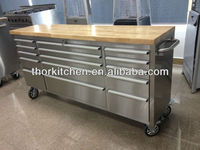 "72"" stainless steel garage tool trolley with flat top"