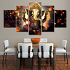 3D HD Wall Art Of The Indian Hindu God Elephant Ganesha Unframed Canvas Painting For Living Room Decoration