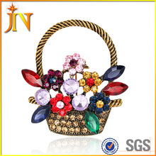 BH0038 Fashion Flower Basket Brooch Pins Colorful Bouquet Rhinestone Brooches Jewelry for Women Wedding