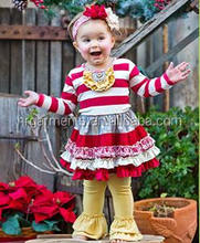 Wholesale Deep red and white striped tutu dress with tiered skirt and buttery yellow tiered