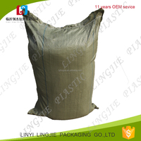 low price recycled material pp woven green bag for construction waste, sand, pebble ,