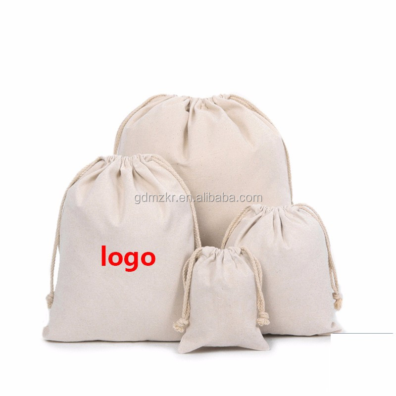 Recycled natural plain custom printed folding cotton muslin canvas drawstring tool bag